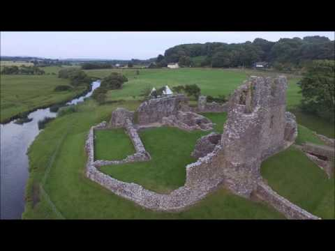 Ogmore Castle,nr Bridgend, South Wales. 900 year old ruin filmed by air