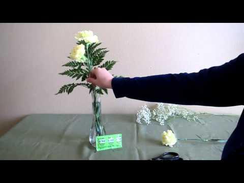 Three Carnation Vase Arrangement