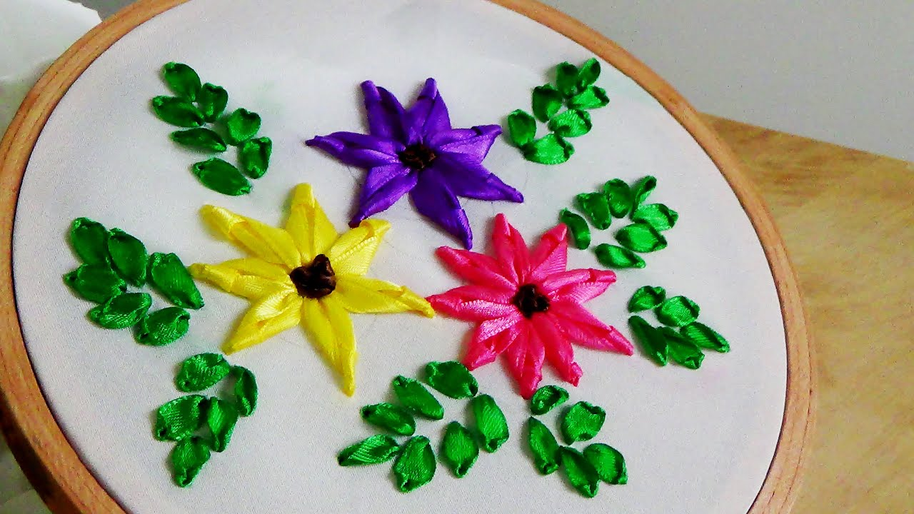 Hand Embroidery Ribbon Flower Embroidery  YouTube