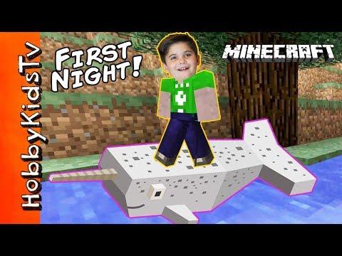 HobbyPig's FIRST NIGHT Minecraft! Narwhal HobbyFrog Fun + Xbox One HobbyKidsTV