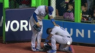 LAD@MIA: Puig's injured after slamming into the wall