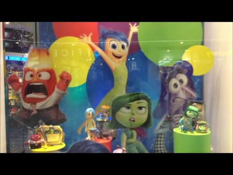 inside out disney store window display inc joy fear disgust anger and sadness toys youtube. Black Bedroom Furniture Sets. Home Design Ideas