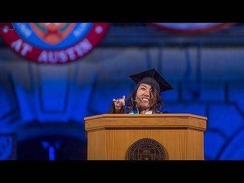 Student Government President Alejandrina Guzman asks fellow graduates to 'plant seeds of knowledge'