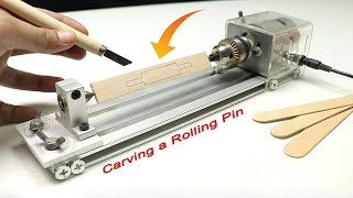 Carving a Mini Bread Rolling pin from popsicle sticks - DIY