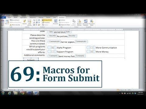 Microsoft Word: Create a Submit Form Button