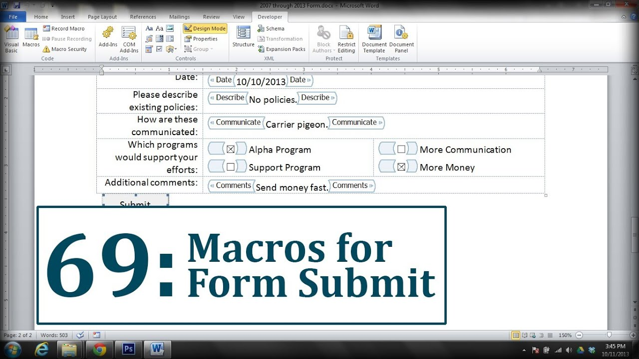 Microsoft word create a submit form button youtube for Microsoft word macro enabled template