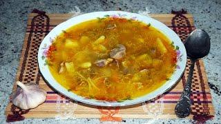 суп с куриными желудками