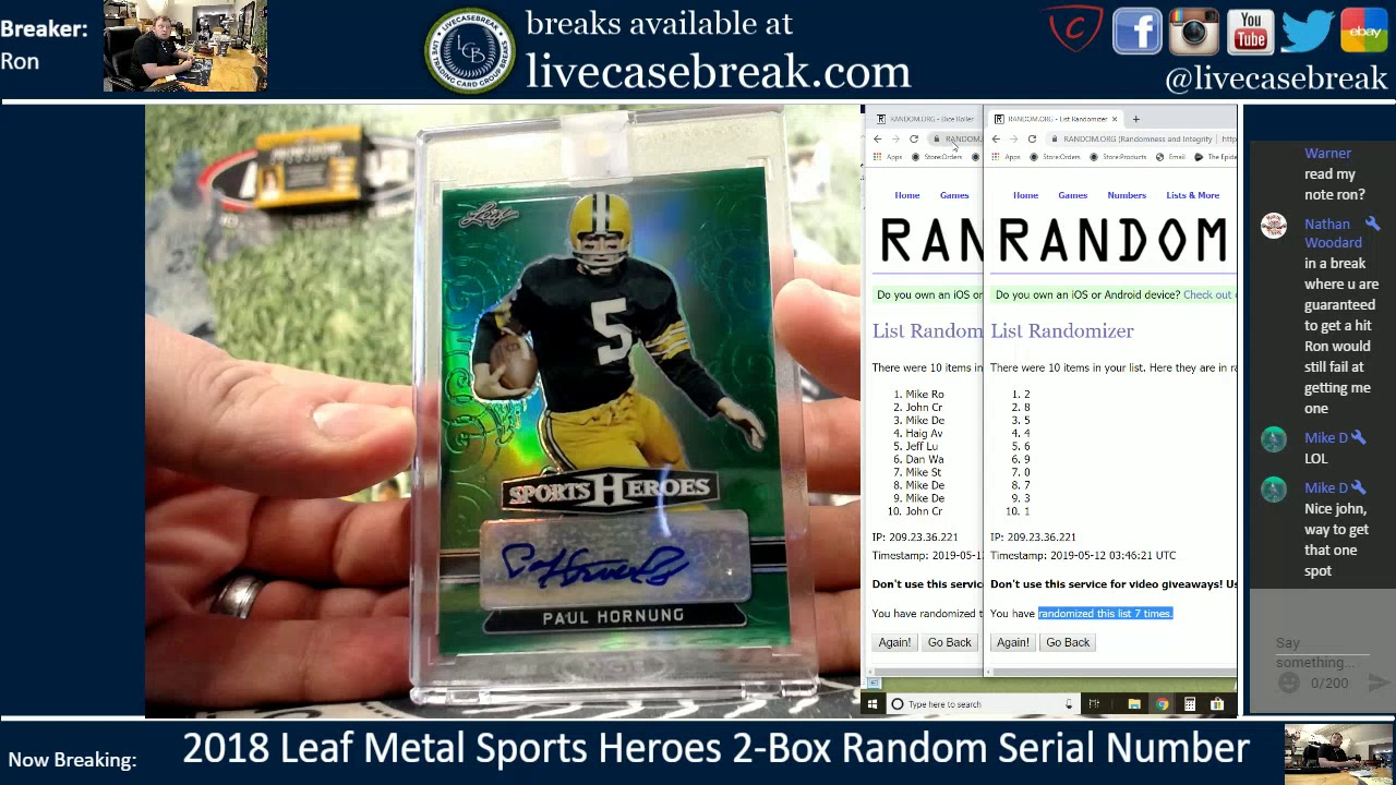 dcbcc9561bd98 2018 Leaf Metal Sports Heroes 2 Box Random Serial Number 5 11 2019 ...