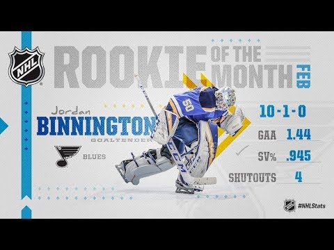 Jordan Binnington wins February Rookie of the Month