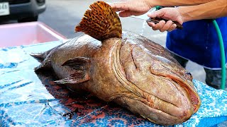 Thai Street Food - GIANT FRIED GROUPER FISH Bangkok Seafood Thailand