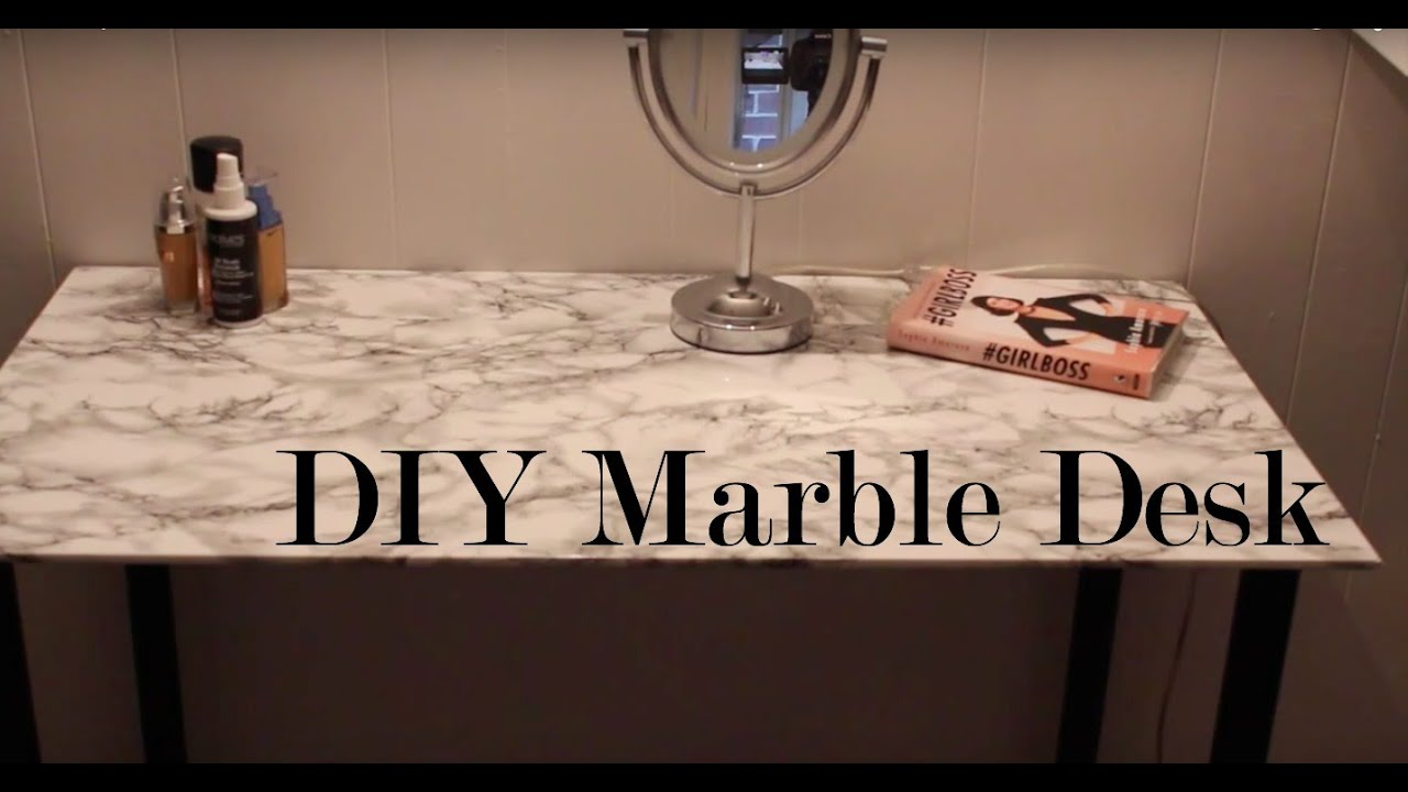DIY Office Decor | Marble Desk!   YouTube