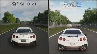 Gran Turismo Sport vs Project CARS 2 - Nissan GT-R NISMO 2017 at Brands Hatch