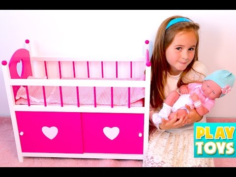 Thumbnail: Baby Doll BABAY SITTER - setting up dolls room, baby change diaper, sleep, kids toys for girls play