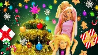 Barbie et sa famille décorent le sapin de Noël. Vidéo de fête en français pour enfants.