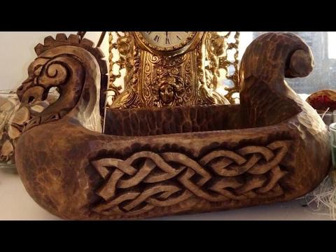 видео: Братина Ладья Викингов  Часть 2  Резьба по дереву