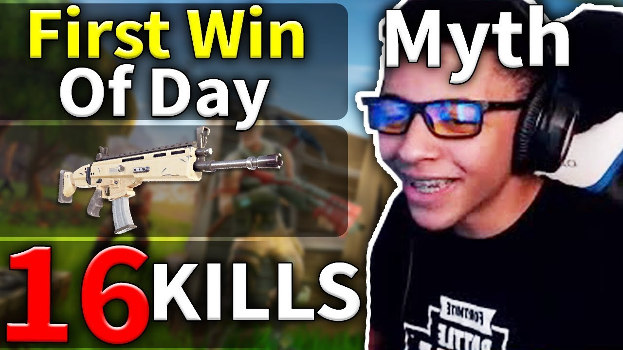 First Win Of The Day Myth S 16 Kills Solo Game 104 Fortnite Youtube
