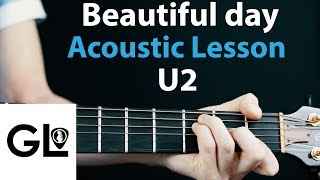 U2 Beautiful Day Acoustic Guitar Lesson Tutorial How To Play Chords Rhythms