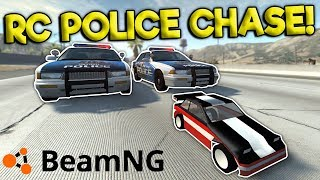 RC CAR POLICE CHASE & CRASHES! - BeamNG Gameplay & Crashes - Cop Es...