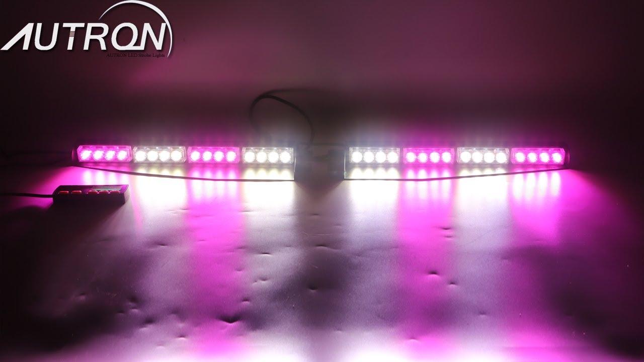 32 Led Purple White Emergency Warning Strobe Visor Split Deck Dash Light Bar