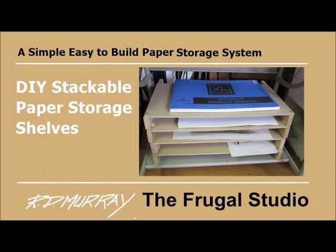 DIY stackable paper storage shelves