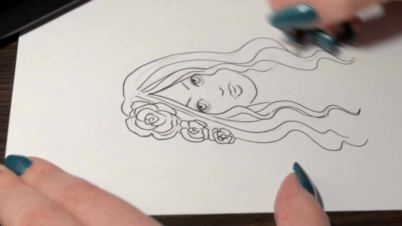 Drawing Using Lines : Drawing a doodle style portrait using lines youtube