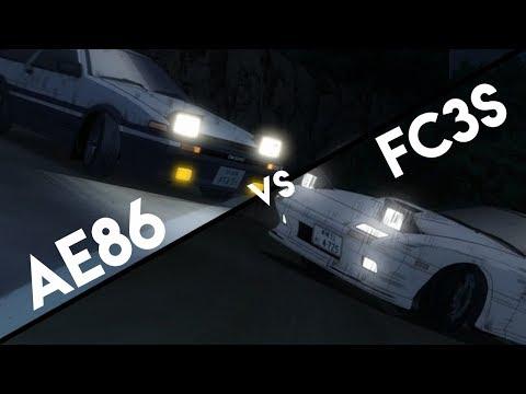 Initial D Legend AE86 Vs FC3S (Eurobeat & English DUB!) 1080p 60FPS