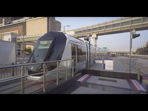 United Arab Emirates, Dubai, tram ride from Palm Jumeirah to Jumeirah Beach Residence 1