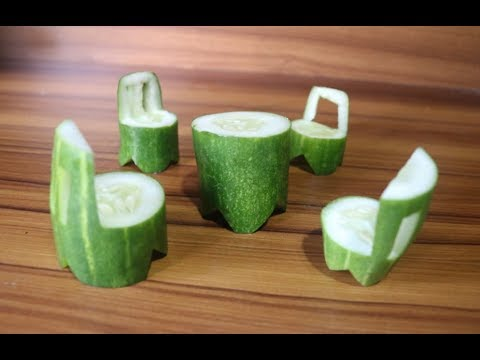 How To Make A Cucumber Dining| How to Make Cucumber Rose Garnish| Crafts| Vegetable Carving Garnish
