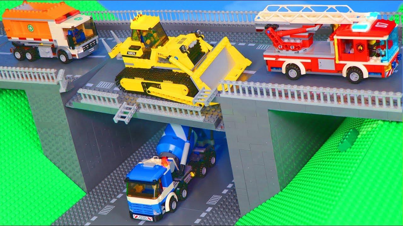 LEGO Pelleteuse, tracteur, tractopelle, Camion de pompier, voiture de police jouets pour enfants