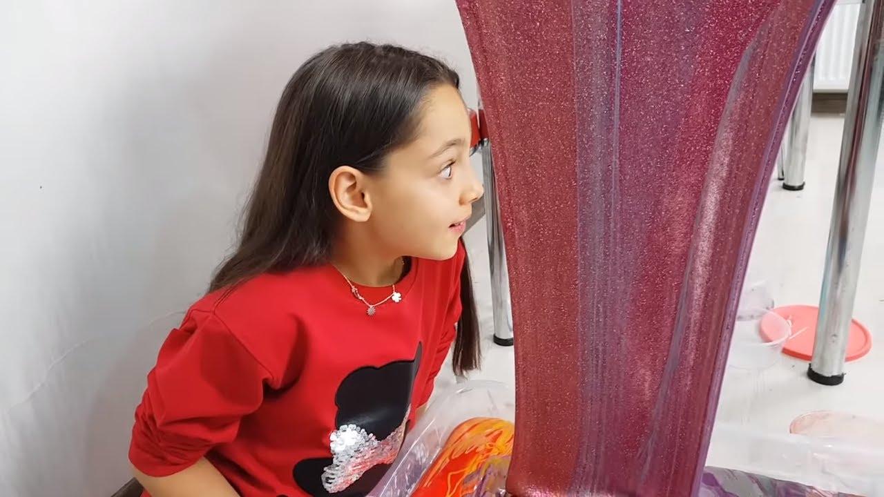 Slime Şelalesi 30 Kap 50 Kilo Slime Eğlenceli Çocuk Videosu Melike Elif