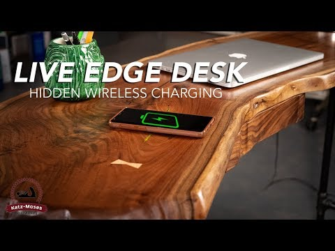 Live Edge Desk with Hidden Wireless Charging (for Pryor Baird from The Voice)