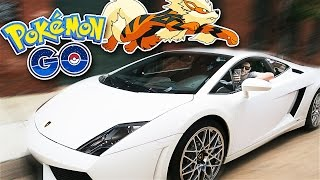 Pokemon Go in a Lamborghini Gallardo