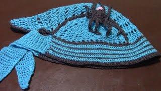 Вязание крючком детской шапки банданы часть 8 из 12