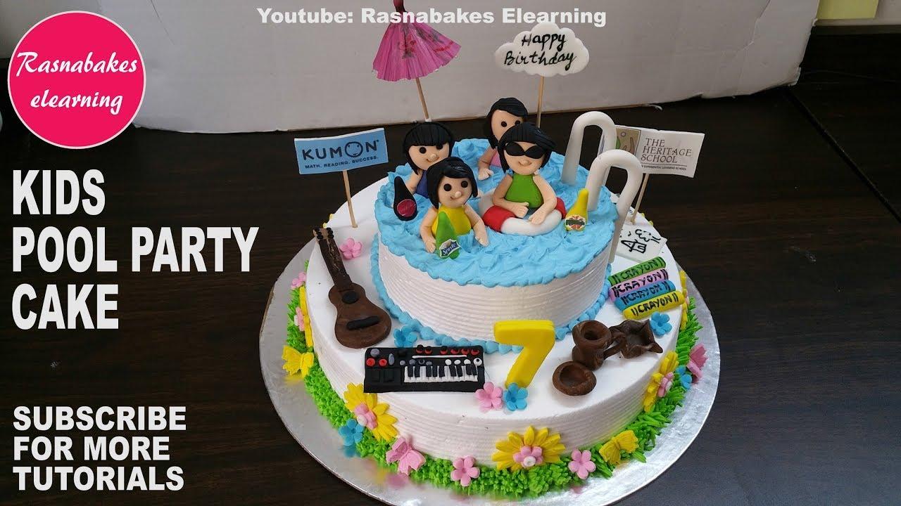 How To Make Kids Swimming Pool Birthday Cake Design Happy Birthday