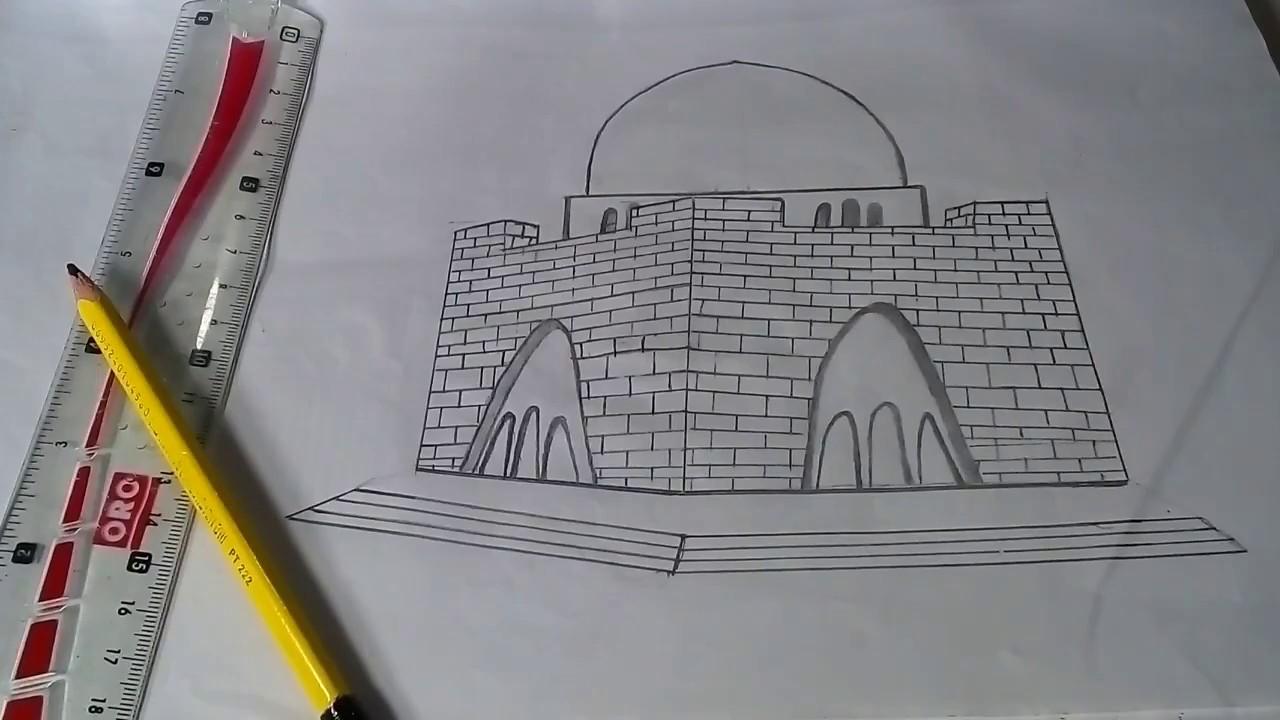 How to draw mazar e qaid sketch 🔵 pencil drawing 🔵 panting tutorial