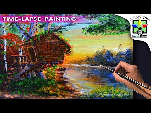 BASIC ACRYLIC LANDSCAPE PAINTING TUTORIAL with TREE HOUSE and river during sunrise | ART LESSON