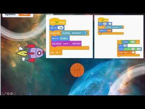 """ตัวอย่างกิจกรรมการเขียนโปรแกรม Scratch """"เกมตะลุยอวกาศ"""" (ป.6)"""