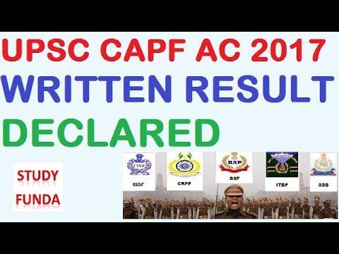 UPSC CAPF 2017 RESULT DECLARED
