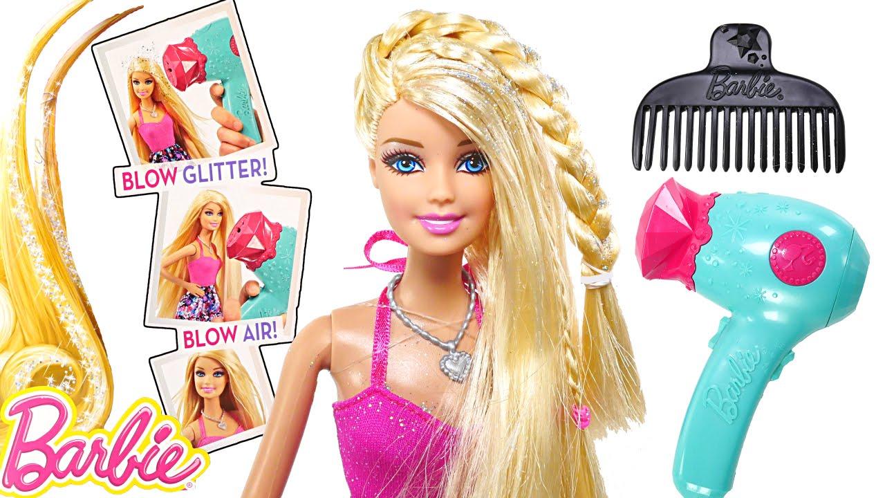 Barbie Glitter Blow Dryer BARBIE Doll Hair-Tastic Styling Playset ...