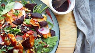 Салат из свеклы с жареным сыром сулугуни и малиновым соусом Рецепт из ресторана грузинской кухни