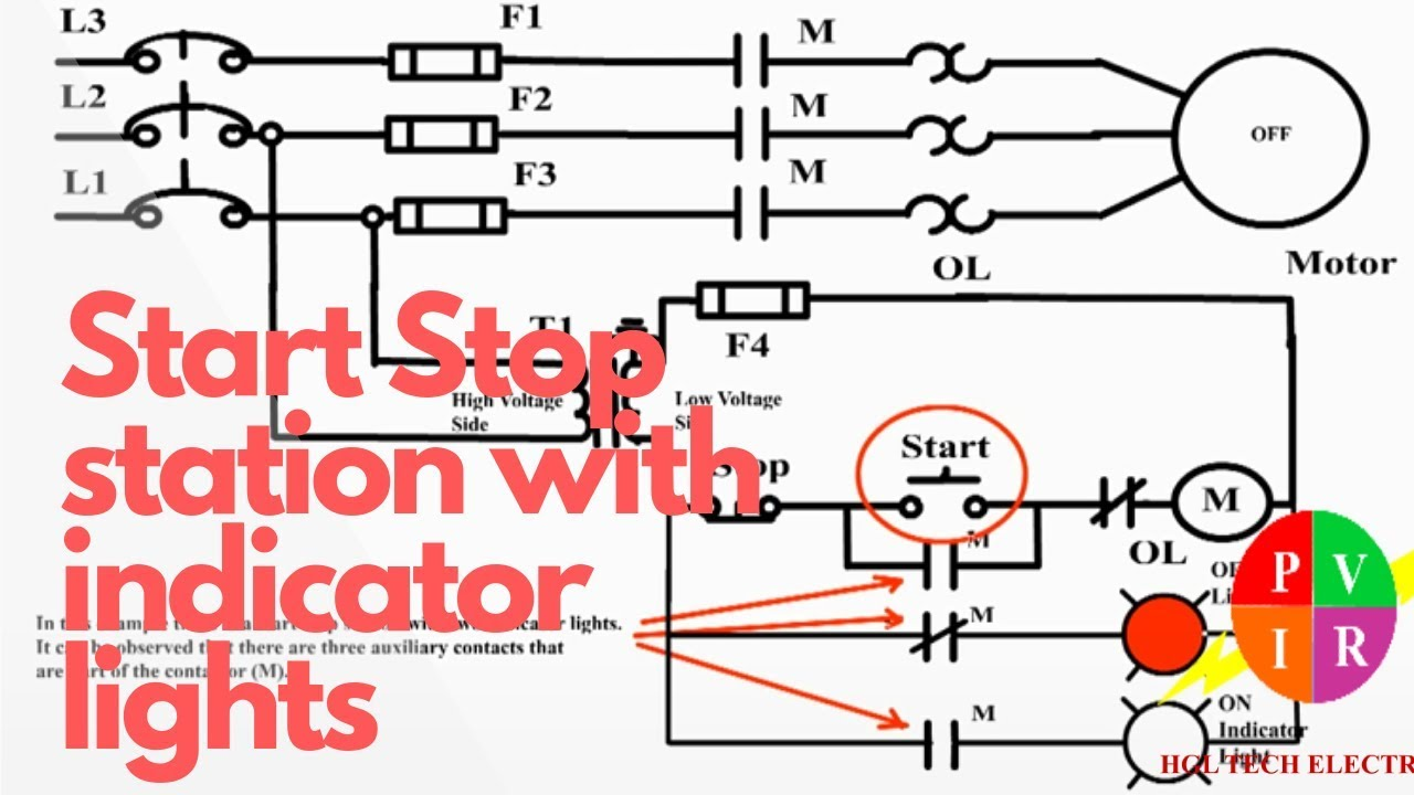 Three Phase Motor With Indicator Lights Ladder Diagram Motor Control Schematic Diagram Youtube