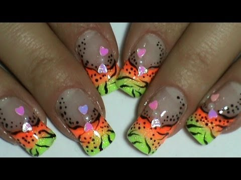 Nail Art Designs Black Lines And Dots On Neon Colors Kind Of