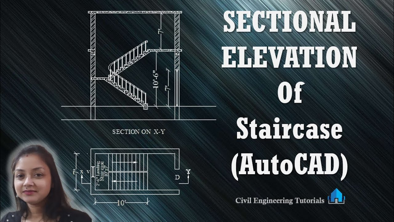 How to draw Sectional Elevation Of Staircase in AutoCAD