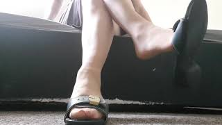 Tan Nylons and Dr Scholls sandals