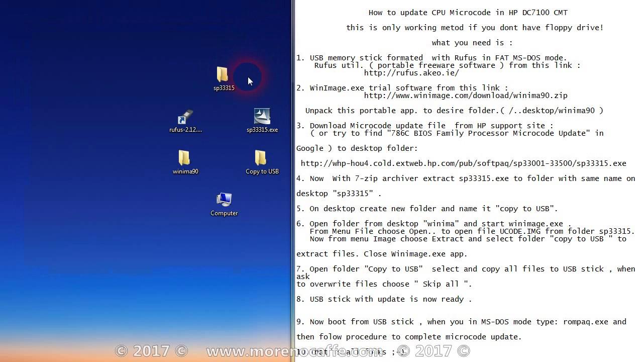 How to update cpu microcode in BIOS - HP DC 7100