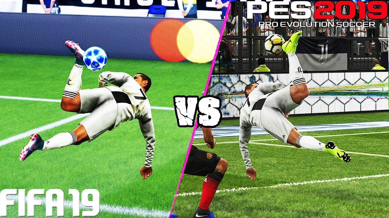 FIFA 19 vs. PES 2019: Fancy Finishing (Scorpion Kick, Bicycle Kick, Rabona  & More) | 4K