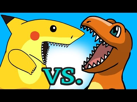 "POKEMON ""My Cute Shark Attack Cartoon"" #28 SHARK PIKACHU vs. DINO CHARMANDER!) Pokemon GO parody!"