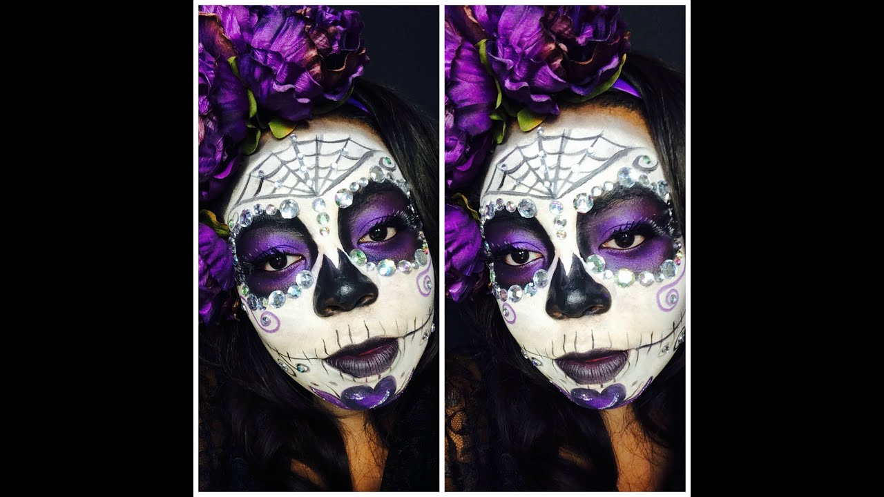 glam sugar skull halloween makeup tutorial