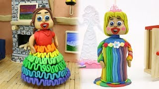 CLAY PRINCESS BABY DRESS UP TIME - Stop Motion Animation Cartoons
