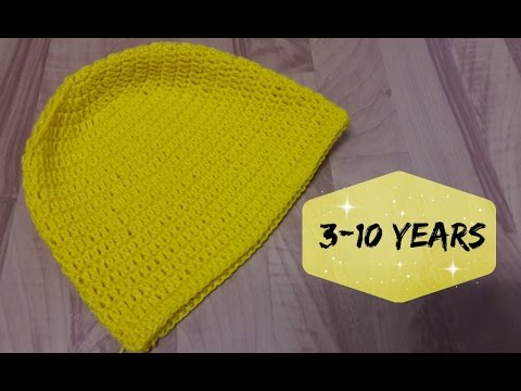 5754eac6a6f How to crochet a hat for 3-10 years old kid